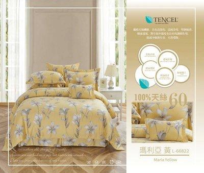 台灣製 60支頂級100%萊賽爾天絲-瑪麗亞(黃) 標準雙人薄床包+兩用被4件組