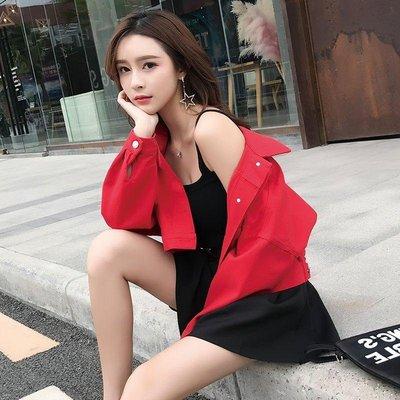 日和生活館 夾克女裝7-11全家正韓國版新款紅色牛仔外套女寬松2019秋季新款韓版女裝bf短款學生長袖夾克上衣19329 S988
