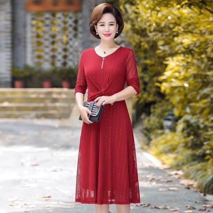 妞妞 婚紗禮服~紅色藍色婆婆媽媽媒人婆喜宴寬鬆洋裝禮服~3件免郵