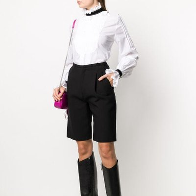 Wandering ruffled pleat-front blouse 女荷葉邊百摺襯衫 限時折扣代購中