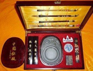 INPHIC-蘭亭序 仿紅木漆盒 大款文房四寶套裝 豪華裝 毛筆硯臺禮盒