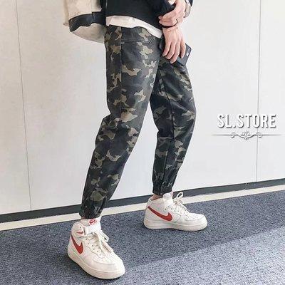 SL Store【CJP032】潮流挺版迷彩抽繩休閒縮口褲. 迷彩綠/M/L/XL/2XL/3XL