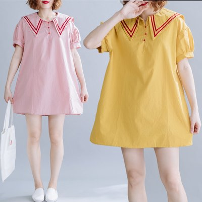 夏季 大碼三粒扣襯衣裙胖mm顯瘦條紋大...