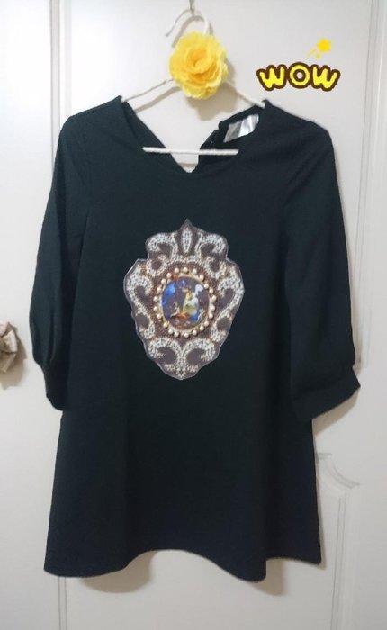 全新*黑色宮華麗廷風格 巴洛克 厚雪紡 洋裝