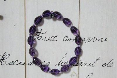 天使熊小鋪~高級手製紫水晶手鍊 楕圓水晶 高透光水晶手鍊~原價3900