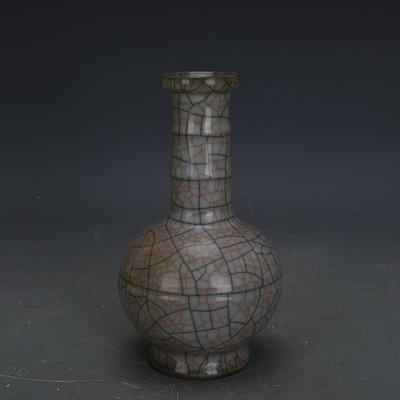 ㊣姥姥的寶藏㊣ 宋代哥窯手工瓷金絲鐵線竹節瓶  古瓷器古玩古董收藏博古擺件