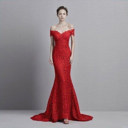 大小姐時尚精品屋~~紅色拖尾修身包臀顯瘦宴會禮服~3件免郵