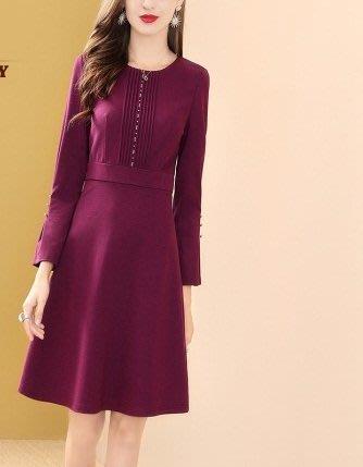 妞妞婚紗禮服~婆婆媽媽紫紅A字裙修身洋裝連衣裙禮服 ~3件免郵