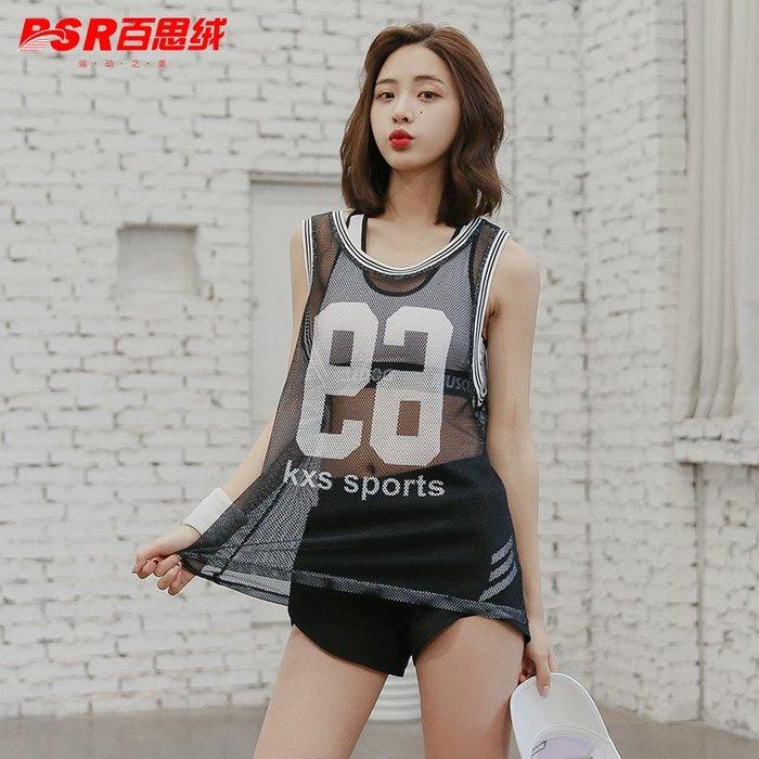 預售款-LKQJD-夏季健身房性感顯瘦跑步運動套裝女鏤空網紗罩衫瑜伽服短褲三件套