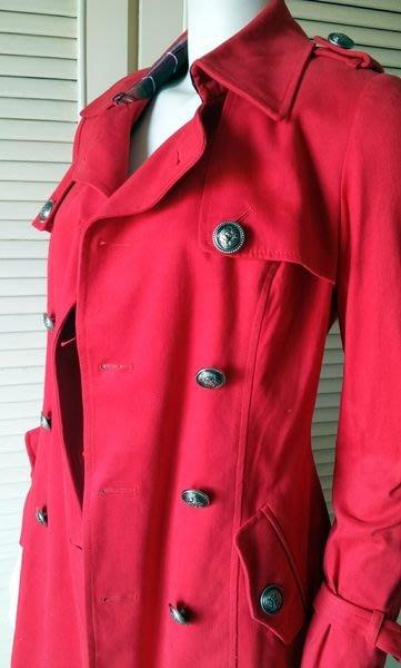 KNIGHTS BRIDGE 紅色金扣雙排扣腰帶大衣