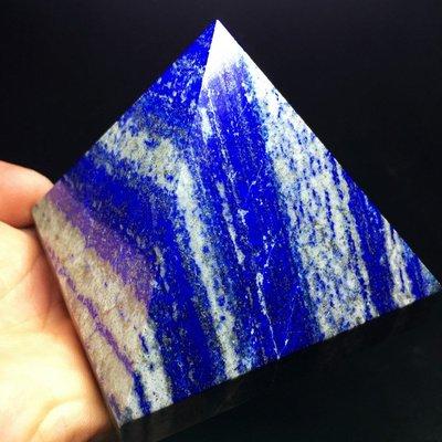 【晶港水晶】底邊長8.1cm青金石金字塔擺件 青金石能量塔擺件 水晶金字塔