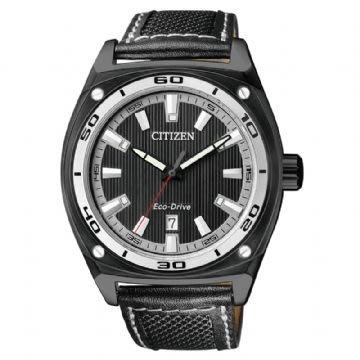 CITIZEN Eco-Drive 紳士光動能時尚腕錶(黑/ 尼龍錶帶) AW1050-01E (神梭鐘錶) 台北市