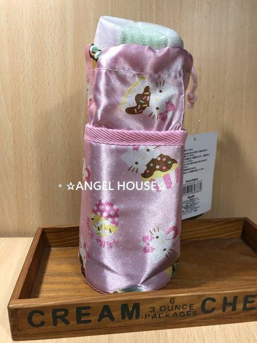 。☆ANGEL HOUSE☆。日本進口**hello kitty**杯子蛋糕束口水壺保溫袋860