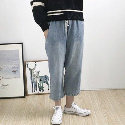牛仔 褲 寬管 長褲-水洗做舊舒適鬆緊腰女褲子2色73tq29[獨家進口][巴黎精品]