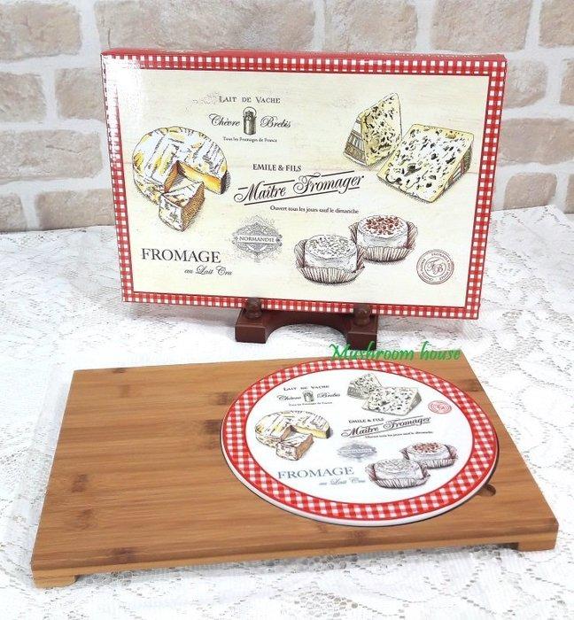 點點蘑菇屋 義大利Easy Life Design竹托盤含起司紅格子陶瓷盤 起司盤 蛋糕盤 麵包盤 點心盤 現貨