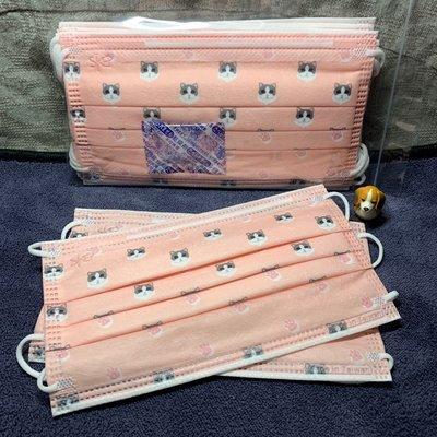 現貨德泰🌈粉紅貓咪🌈成人防護平面口罩(10入)