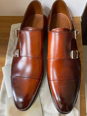 Santoni Goodyear welted Double Monk 孟克鞋 高端系列 手染刷色 手工製 義大利製 UK9.5 Made In Italy