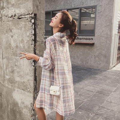 防曬 外套 正韓版襯衫超薄女夏格子20...