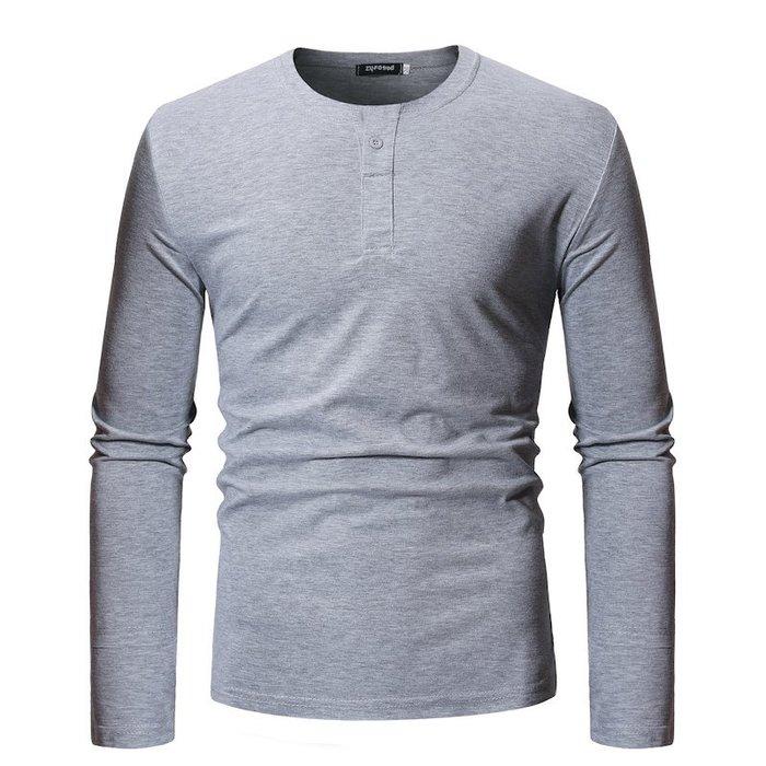 『潮范』  N4 外貿潮流時尚長袖t恤 男士上衣寬松T恤 素面T恤 棉質T恤 打底衫