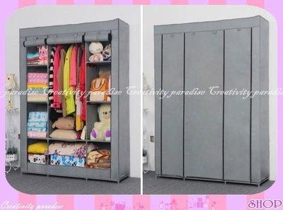 ☆意樂舖☆【三門加大衣櫃2號】DIY組裝三開式無紡布覆膜衣櫥多層收納置物櫃衣櫃