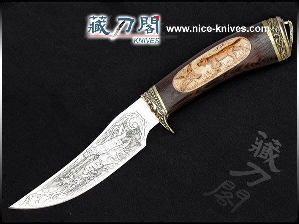 《藏刀閣》歐美手工刀-獵犬-不銹鋼雕刻鐵刀