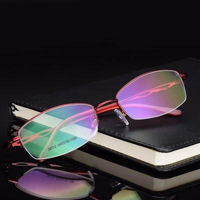 半框金属紫色眼镜框女款青年少女商务镂空轻粉色气质近视眼镜架