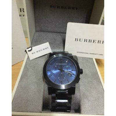全新品代購 BURBERRY 英倫城市經典計時腕錶-藍x鐵灰/43mm BU9365