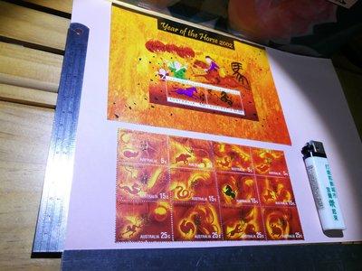 銘馨易拍重生網108SNA01 早期 2002年 澳洲 馬年套票小全張及12生肖連張新票(2張1標) 保存如圖 讓藏