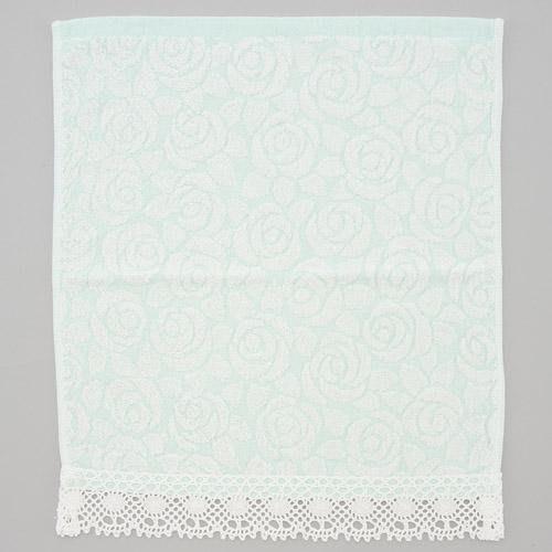 ~~凡爾賽生活精品~~全新日本進口綠色玫瑰花刺繡造型純棉方巾~日本製