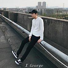 ``X George''秋季男長袖T恤純色白色圓領打底衫純棉秋衣寬松小衫全棉男裝