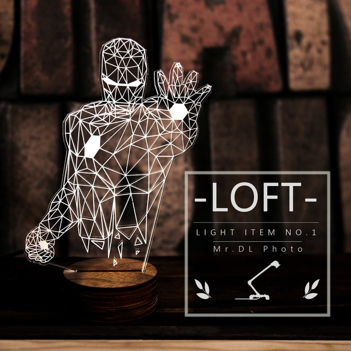 免運 外銷款【Mr.DL】[32款] LED質感木座3D立體燈 工業風 星際大戰黑武士 鋼鐵人 杯麵 生日聖誕節交換禮物