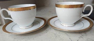 Noritake 浮雕金邊對杯 2杯2盤一組 咖啡杯 茶杯