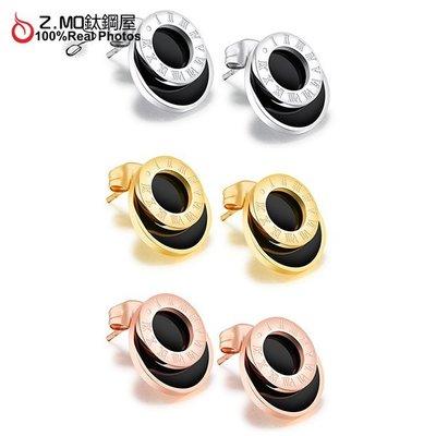 316L鈦鋼打造 雙圓圈造型 羅馬數字耳環 經典款式推薦 紀念禮物 OL女孩必備一對價【EKS389】Z.MO鈦鋼屋