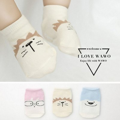 【 I Love wawo 】現貨 可愛 小兔子/北極熊/獅子 襪子 短襪 童襪 兒童 嬰兒 寶寶 防滑膠