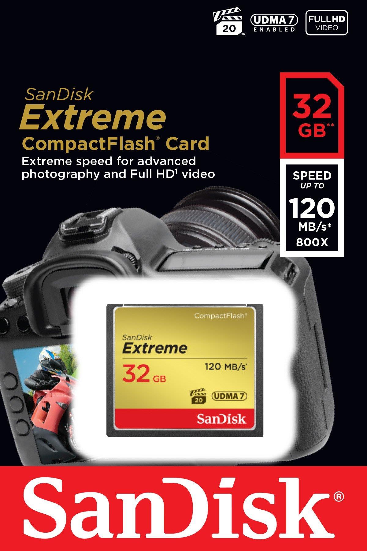 【全新含稅】SANDISK EXTREME CompactFlash CF 32G 32GB 記憶卡 120MB/s