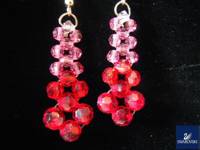 ※水晶玫瑰※ SWAROVSKI 地球珠水晶 耳勾式耳環(DD384)