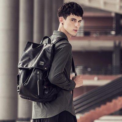 背包赫登爾(herder)雙肩包男時尚旅行背包學生書包電腦包大容量潮流男包0902A黑色