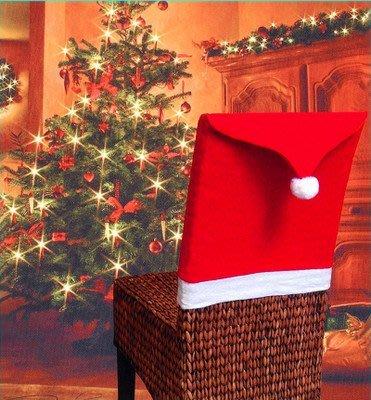 艾莉小舖 熱賣現貨 紅色無紡布聖誕椅子套 聖誕節餐桌裝飾聖誕帽 手感柔軟