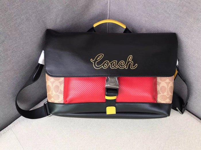 COACH 73840 新款經典C紋配皮潮流時尚拼色男士手提單肩斜挎包