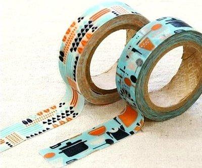 *YOOWOO*C【韓國 Decorate YOUR item 多功能裝飾 15mm 和紙膠帶 貼紙 ~ Kamome dinner】一組2入