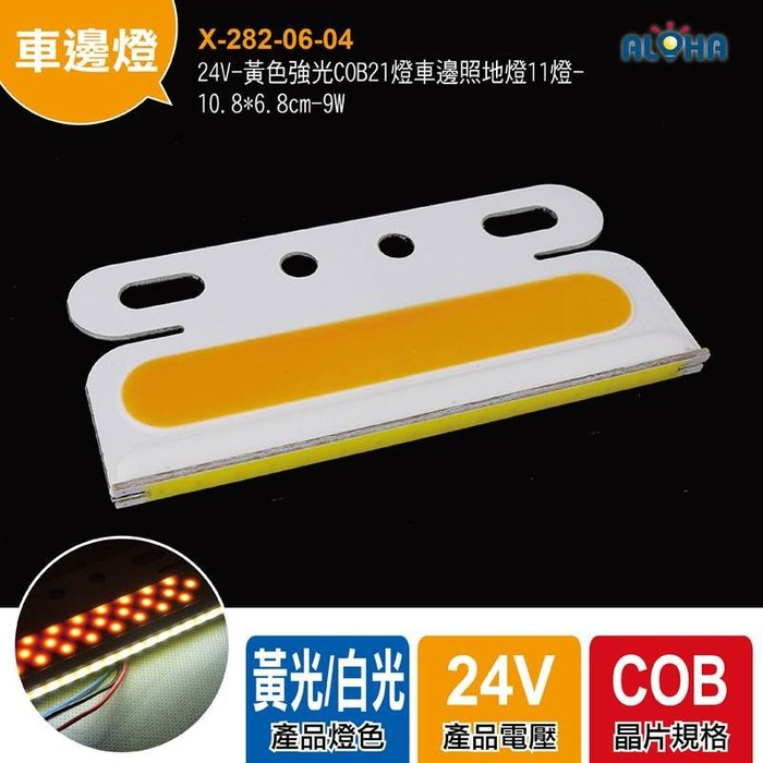 貨車卡車側邊燈【X-282-06-04】24V-黃色強光COB21燈車邊照地燈 煞車燈、方向燈、警示燈、照地燈、側邊