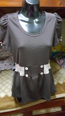 全新深咖啡色束腰短袖上衣