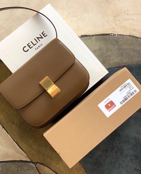 Melia 米莉亞代購 19ss Celine 復古銅釦 肩背斜背包 小方包 晚宴包 大容量 別錯過 焦糖色