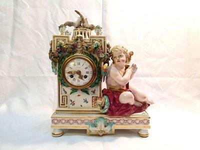 { Ruminant 慕名古物 } 19世紀德國麥森Meissen火炬邱比特桂冠時鐘
