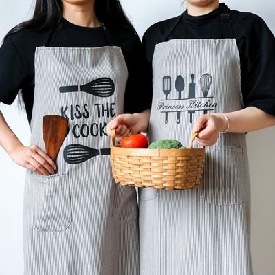日和生活館 北歐風布藝圍裙創意可愛刀叉韓版時尚廚房家居半身圍裙S686