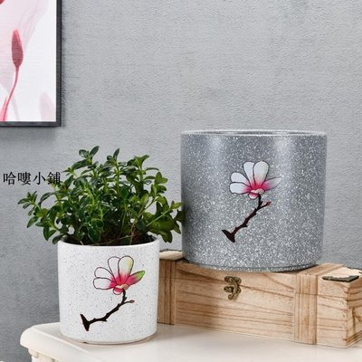 優選 陶瓷花盆家用大號簡約直筒圓柱形ins北歐風現代創意室內花盆盆栽