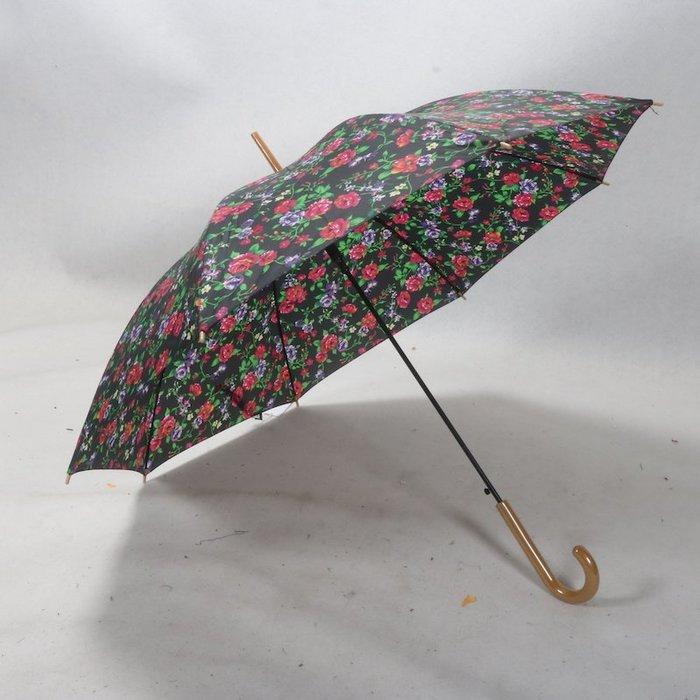 奇奇店-復古花卉大紅玫瑰花自然元素女式長柄60cm雨傘#加固 #小清新 #晴雨兩用