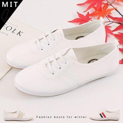 女款 經典雙線條 免綁帶直接套腳 小白鞋 平底鞋 休閒鞋 Ovan
