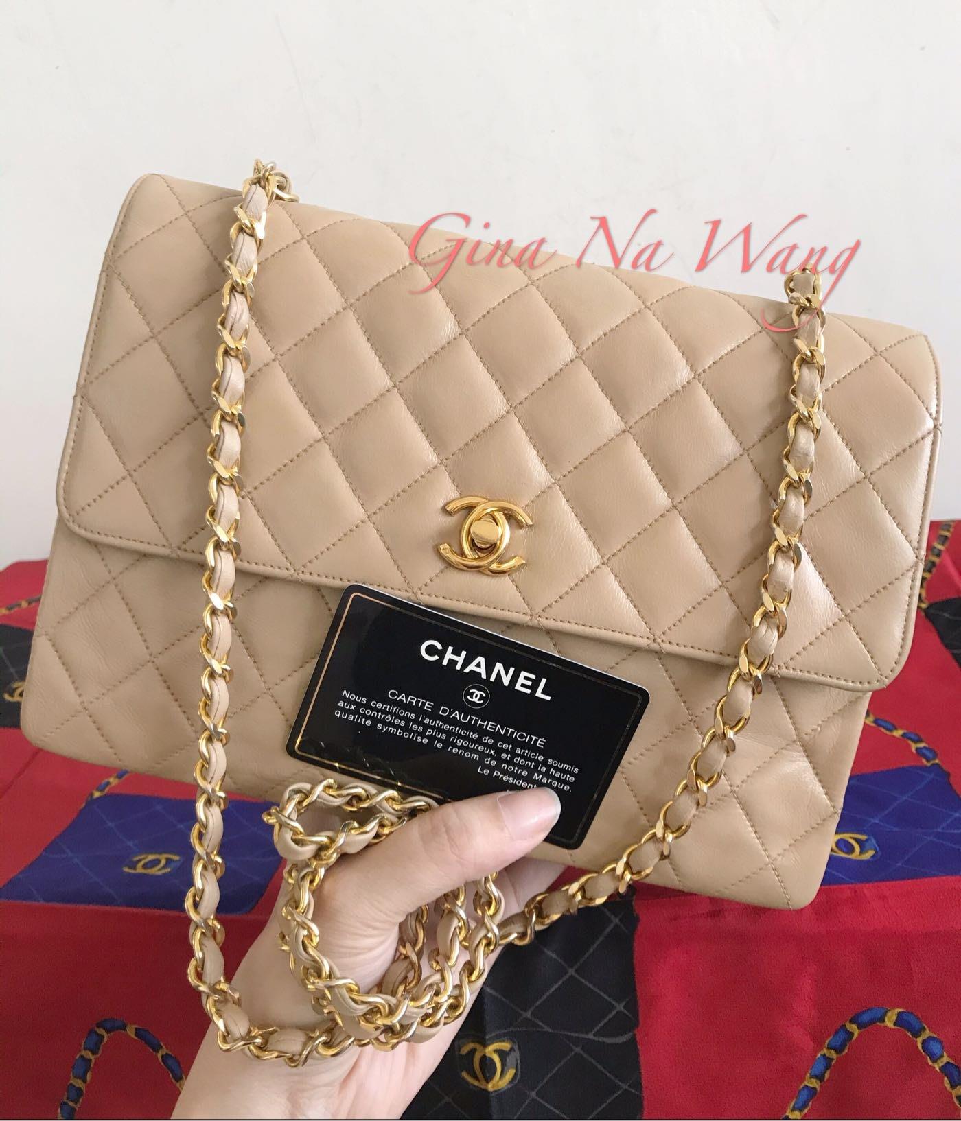 (已售出)Chanel 羊皮奶茶色金釦斜背包