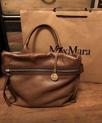 Max Mara 副牌 max&co 咖啡色真皮包原價 25800 機車包 rabeanco salad tough